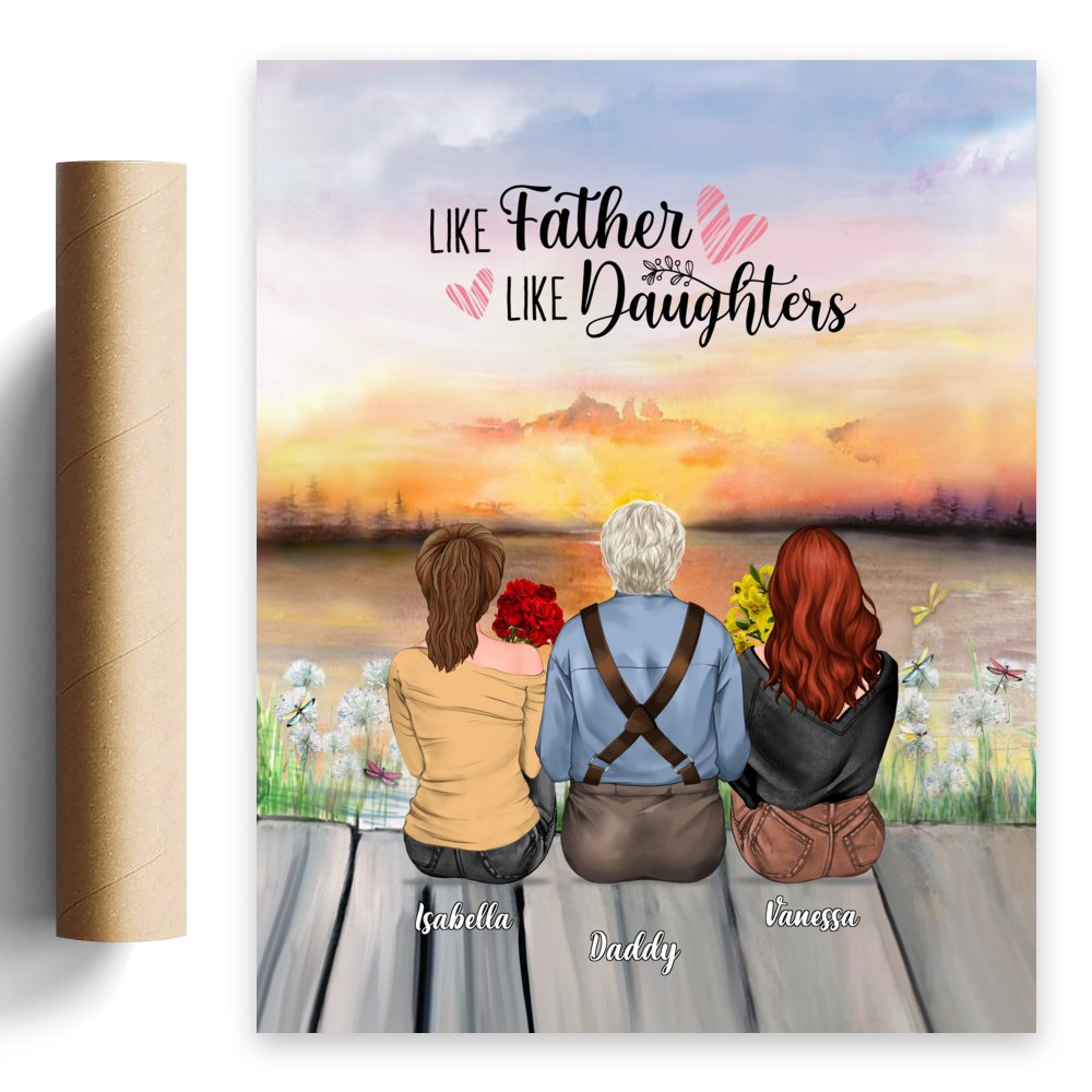 Personalized Poster - Father's Day - Like Father Like Daughters Sunset_1
