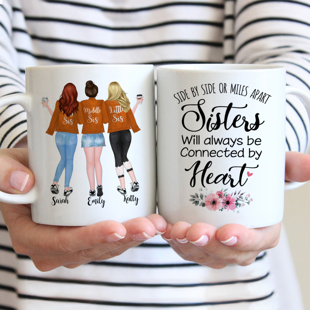 Personalized Mug - Up to 5 Girls - Side by side or miles apart, Sisters will always be connected by heart - Orange
