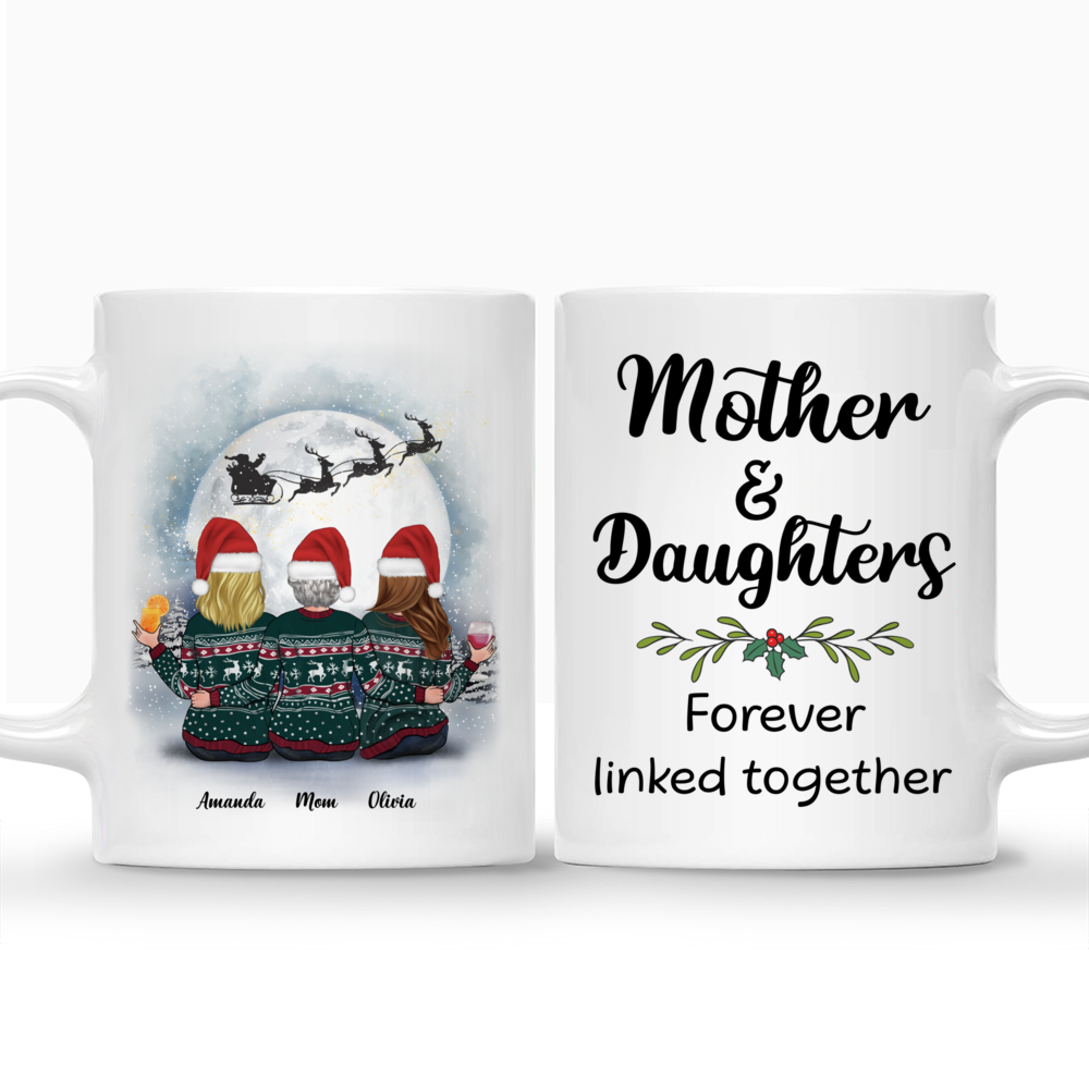 Personalized Mug - Christmas Moon - Mother & Daughters Forever Linked Together (2)_3