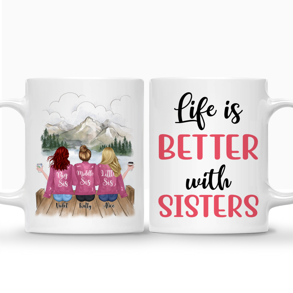 Personalized Mug - Up to 5 Sisters - Life is better with Sisters (Pink) (Pink, Mountain)_3