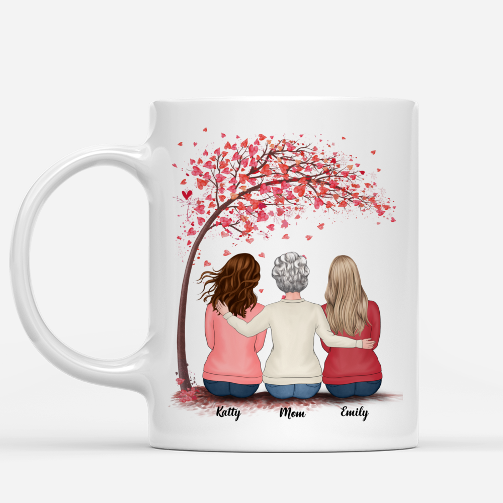 Personalized Mug - Mother & Daughters - Side by side or miles apart Mother & Daughters will always be connected by the Heart (Love Tree)_1