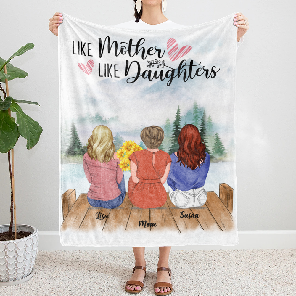 Personalized Blanket - Daughter and Mother Blanket - Like mother like daughters (Mountains)