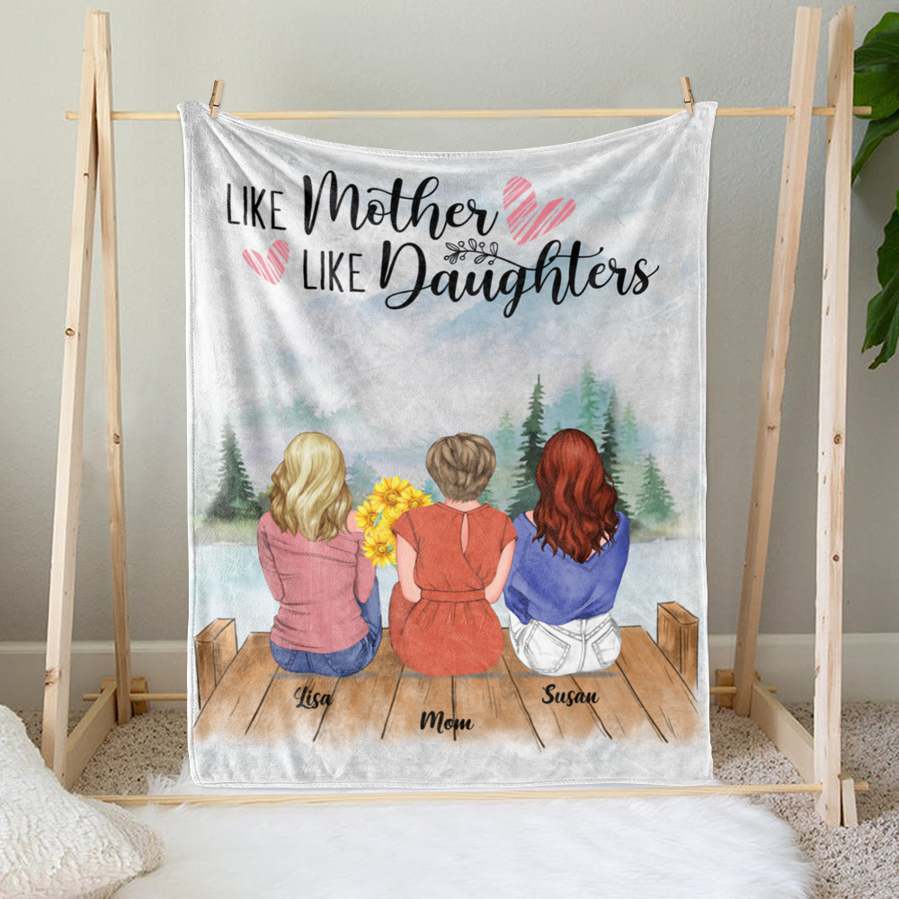 Personalized Blanket - Daughter and Mother Blanket - Like mother like daughters (Mountains)_1