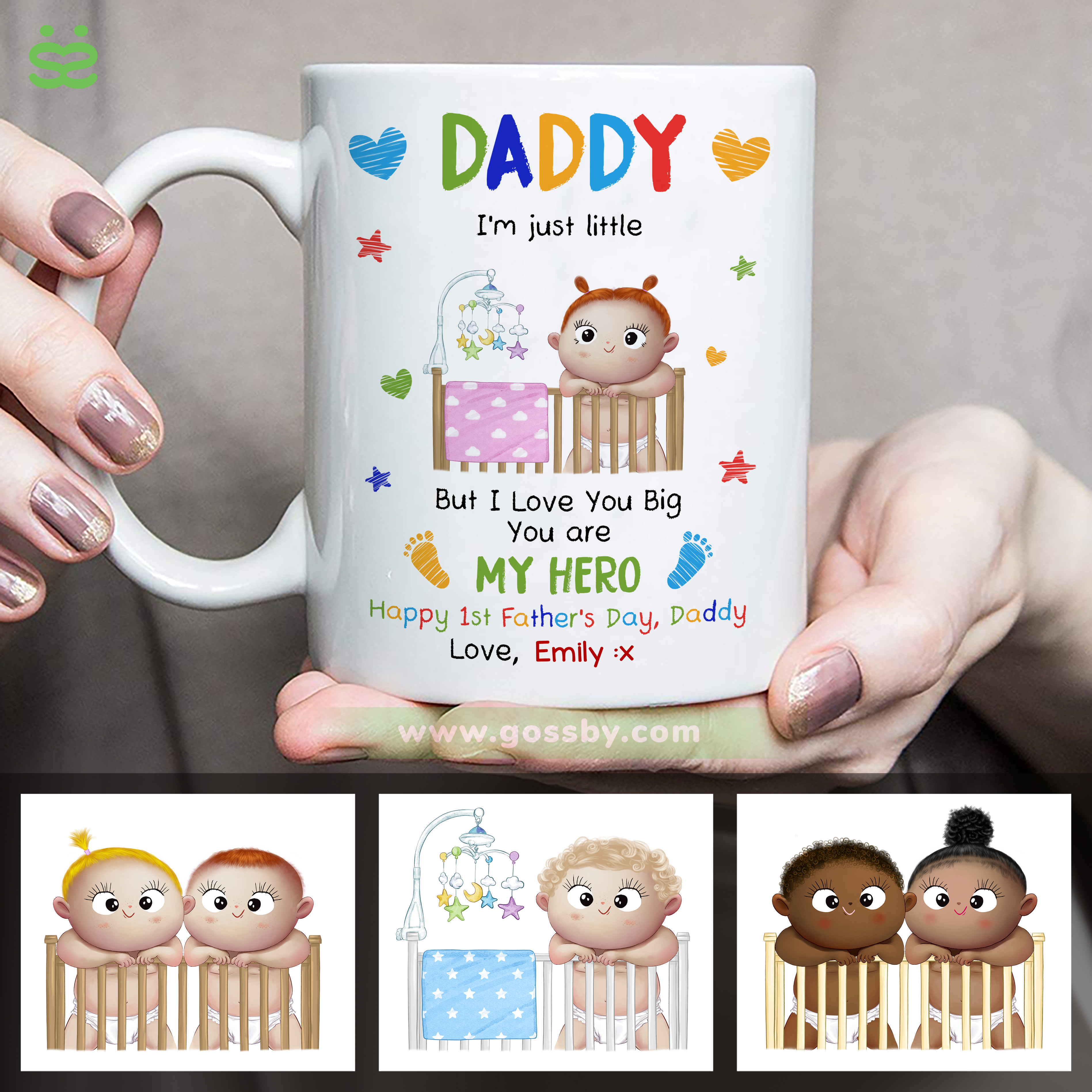 Personalized Mug - First Father's Day - Daddy, I'm just little. But I love you Big. You are my Hero_1