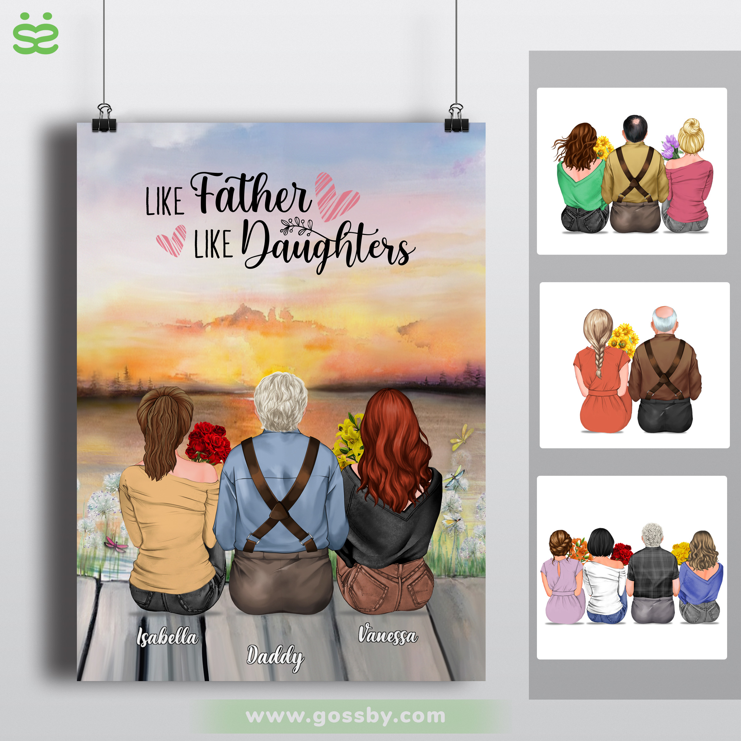 Personalized Poster - Father's Day - Like Father Like Daughters Sunset