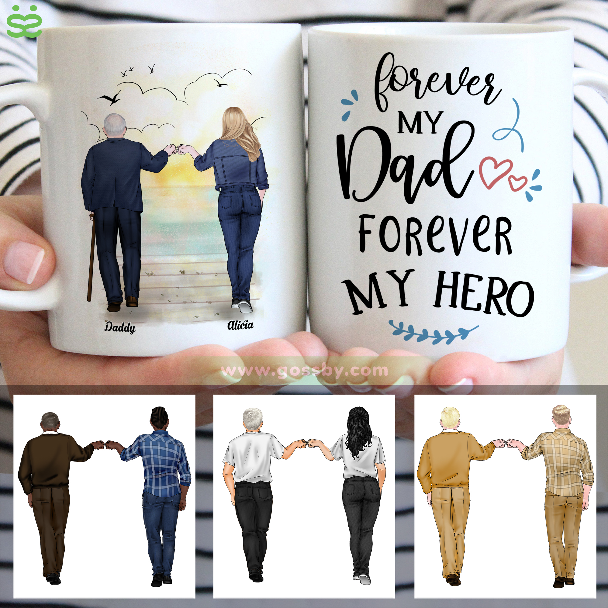 Personalized Mug - Father's Day - (W) Forever My Dad, Forever My Hero (DH) - V.2