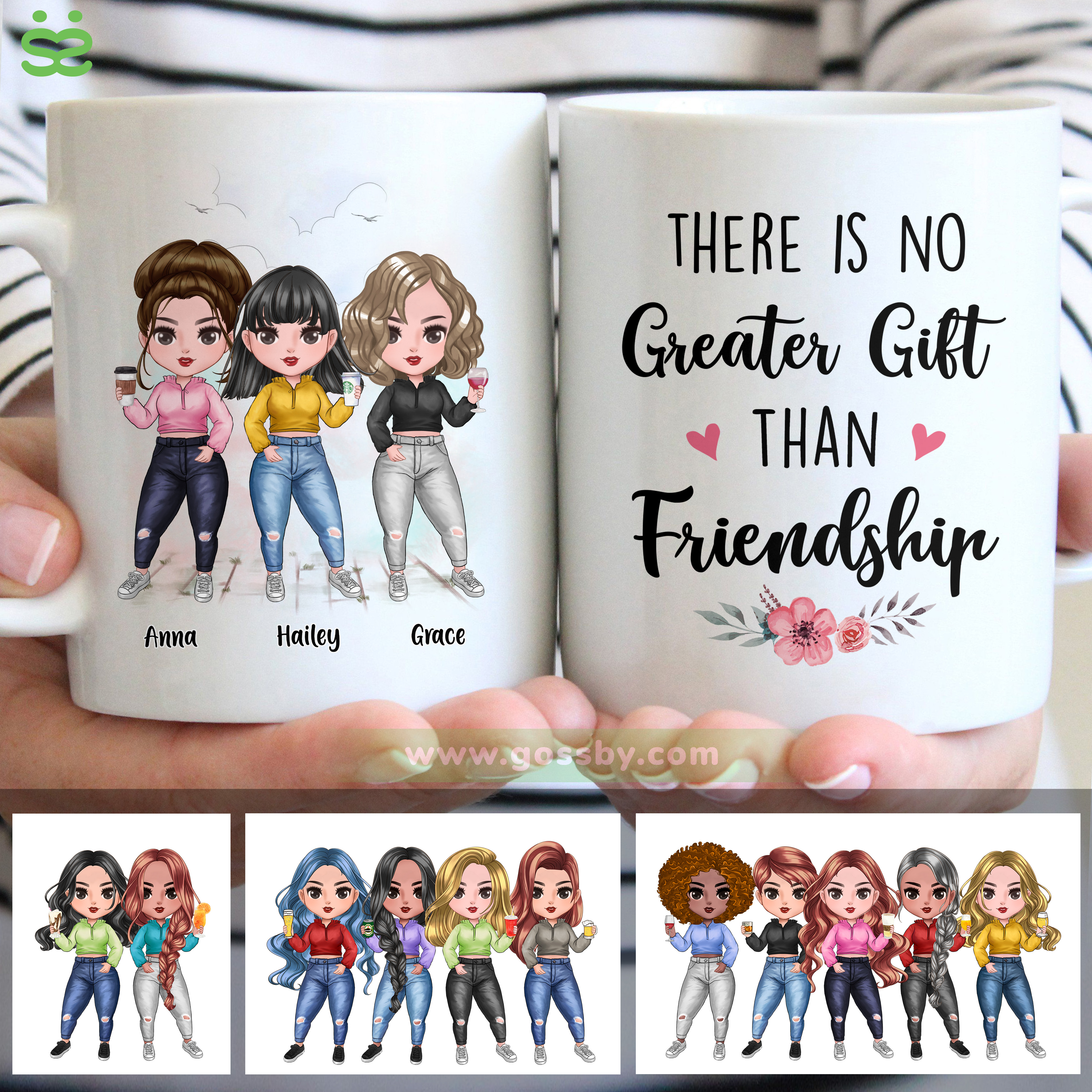 Personalized Mug - There Is No Greater Gift Than Friendship (Up to 7 Girls)