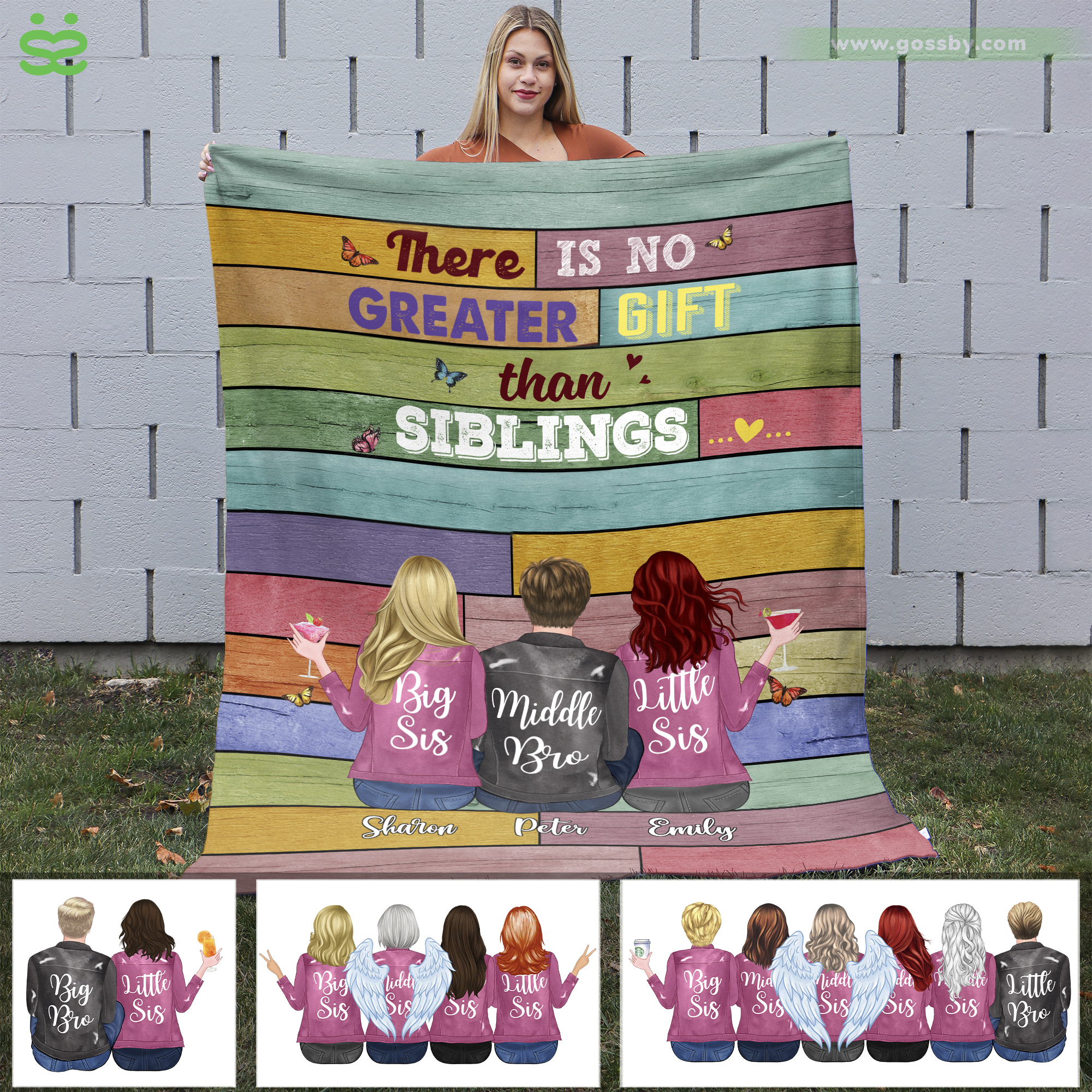 Personalized Blanket - Up to 6 Siblings - There Is No Greater Gift Than Siblings (6361)