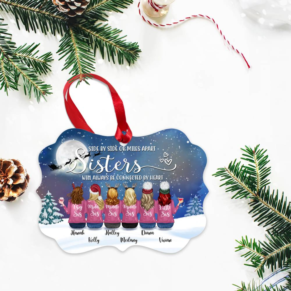 Personalized Ornament - Up to 9 Women - Ornament - Side by side or miles apart, friends will always conected by heart (Snow)_2