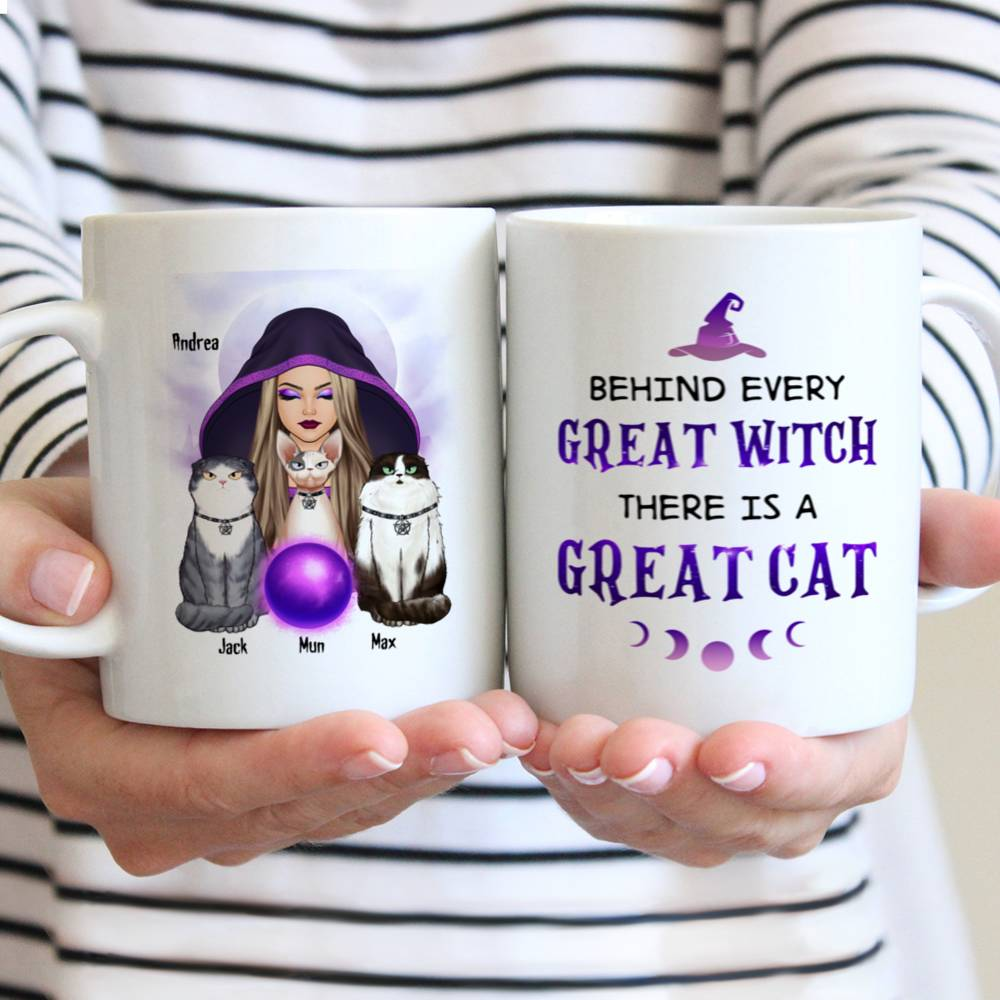 Personalized Mug - Halloween - Cat Witch - Behind every great witch there is a great cat_3