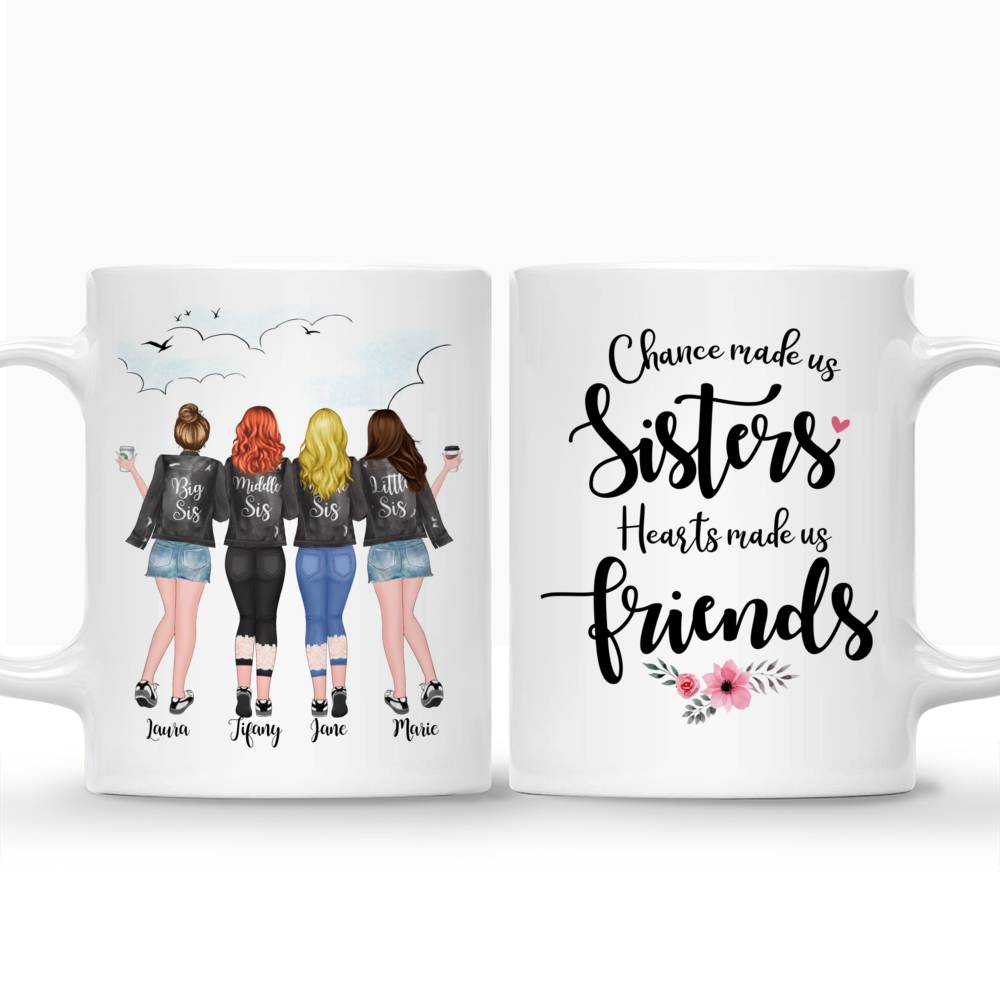 Four Sisters Personalized Mugs Full Body - Hearts Made Us Friends_3