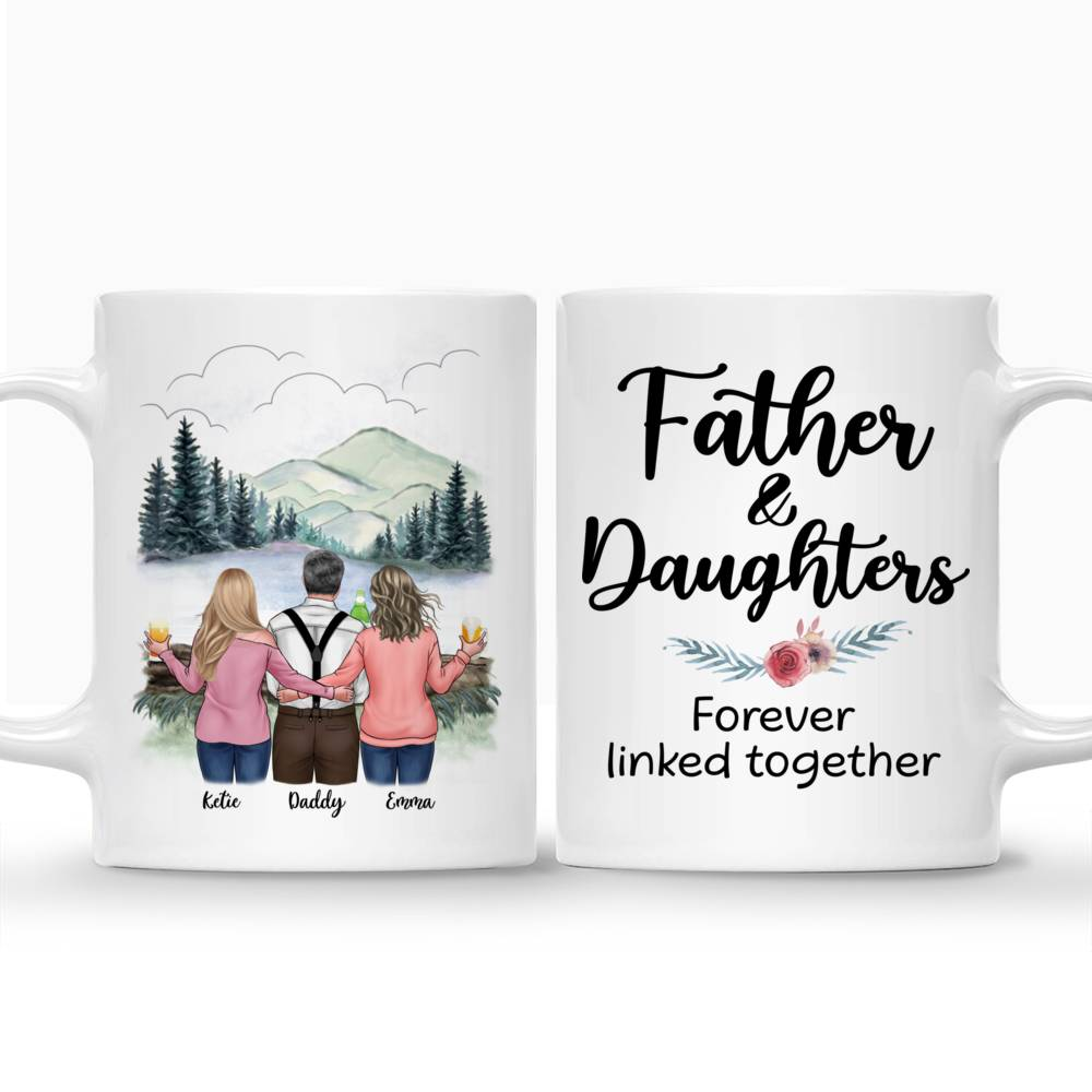 Personalized Mug - Family - Father and Daughters Forever Linked Together_3