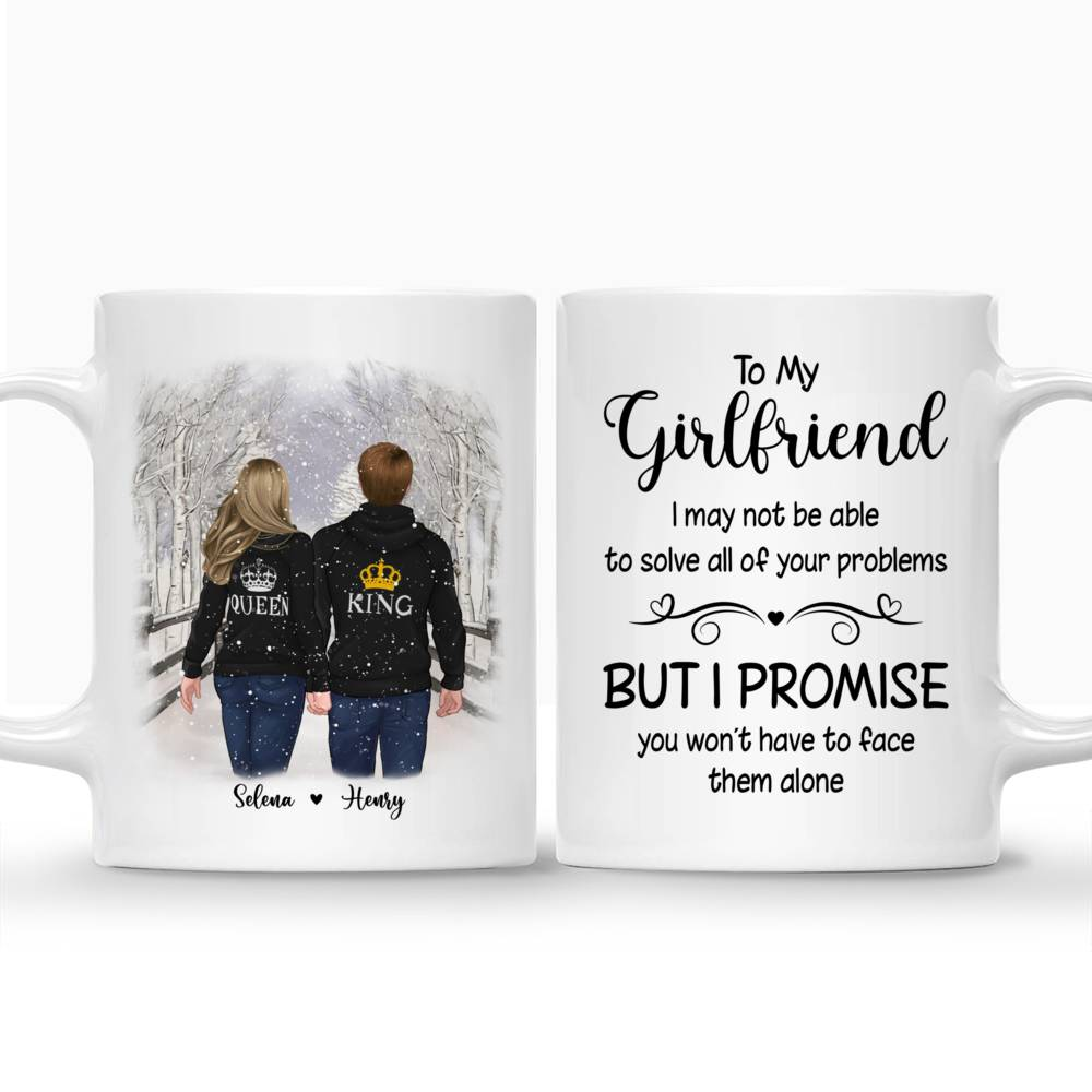 Personalized Mug - Winter Romance - To my Girlfriend I may not be able to solve all of your problems, but I promise you wont have to face them alone_3