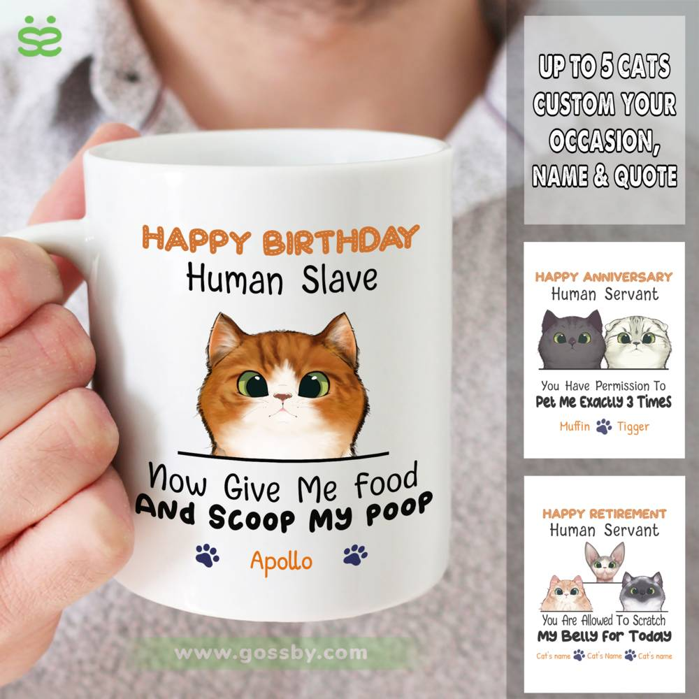 Personalized Mug - Cat Celebration - Happy Birthday - Now give me food and scoop my poo