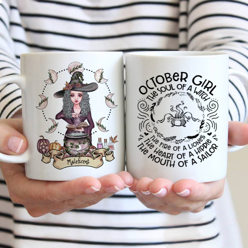 Personalized Mug - Witch - October Girl The Soul Of A Witch The Fire Of A Lioness The Heart Of A Hippie The Mouth Of A Sailor
