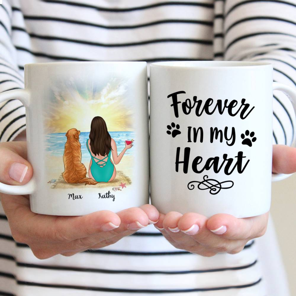 Personalized Mug - Beach Girl And Her Dog - Forever In My Heart