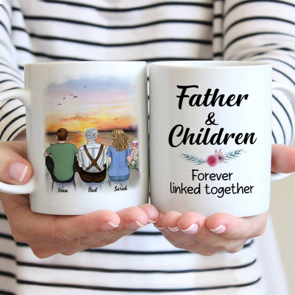 Personalized Mug - Father And Children Forever Linked Together | Gossby