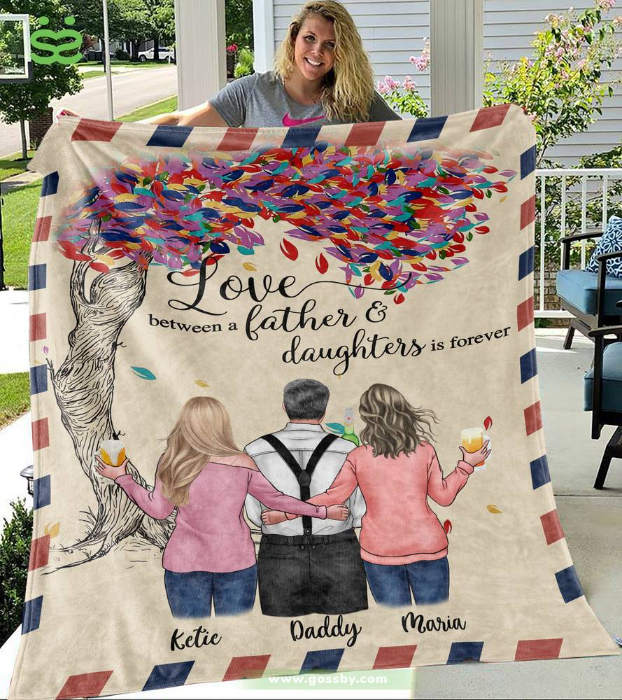 Personalized Blanket - Family - Love between a Father and Daughters is forever.