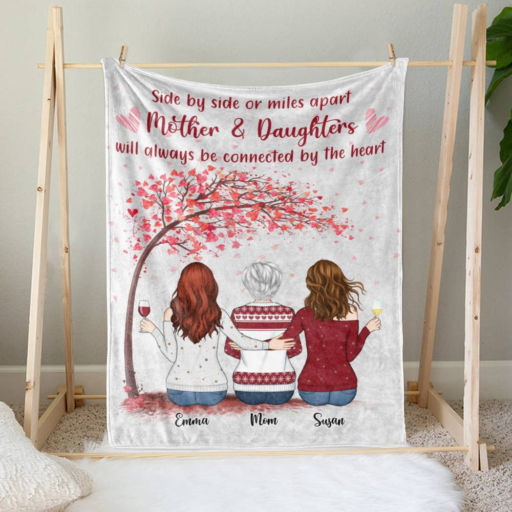 Personalized Blanket - Daughter and Mother Blanket - Side by side or miles apart, Mother and Daughters will always be connected by heart (Love tree)_1