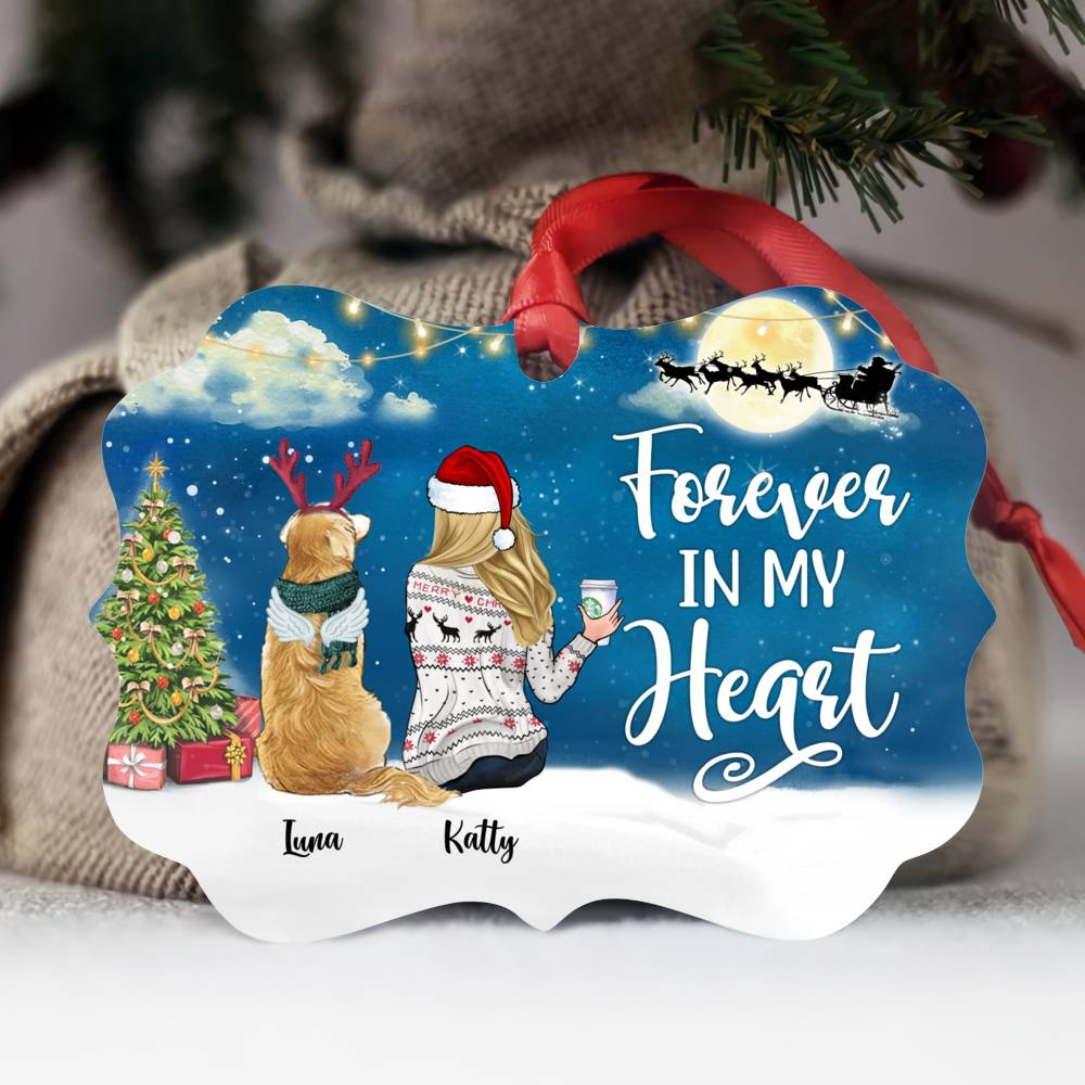 Personalized Ornament - Girl and Dogs - Forever in my heart (5935)