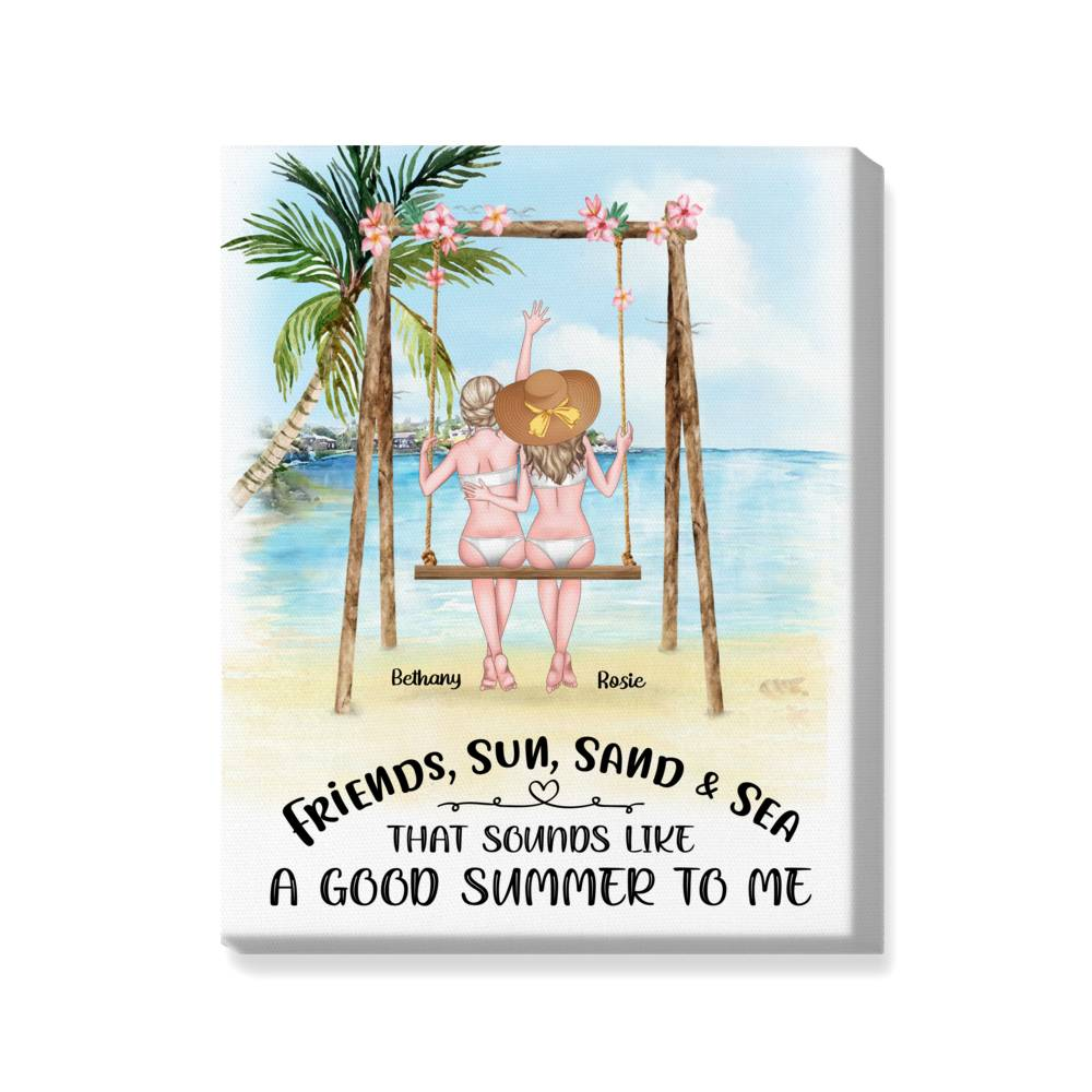 Personalized Wrapped Canvas - Beach Girls - Portrait Canvas - Friends, sun, sand & sea. That sounds like a good summer to me