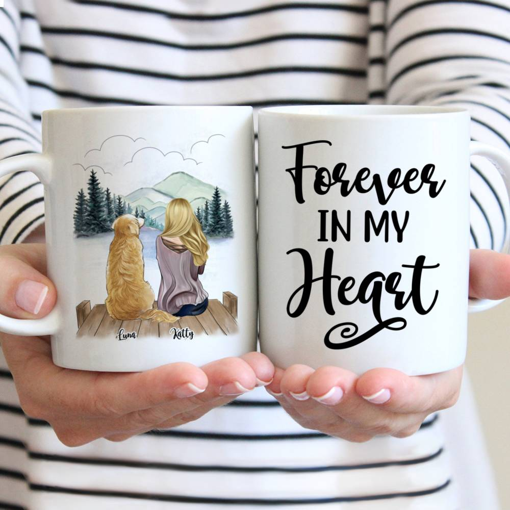 Customized Coffee Dogs Mom Mug - Girl and Dogs - Forever In My Heart