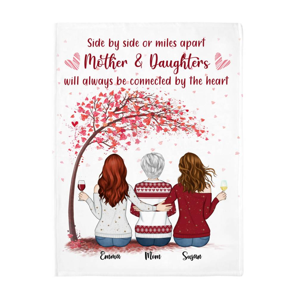 Personalized Blanket - Daughter and Mother Blanket - Side by side or miles apart, Mother and Daughters will always be connected by heart (Love tree)_2