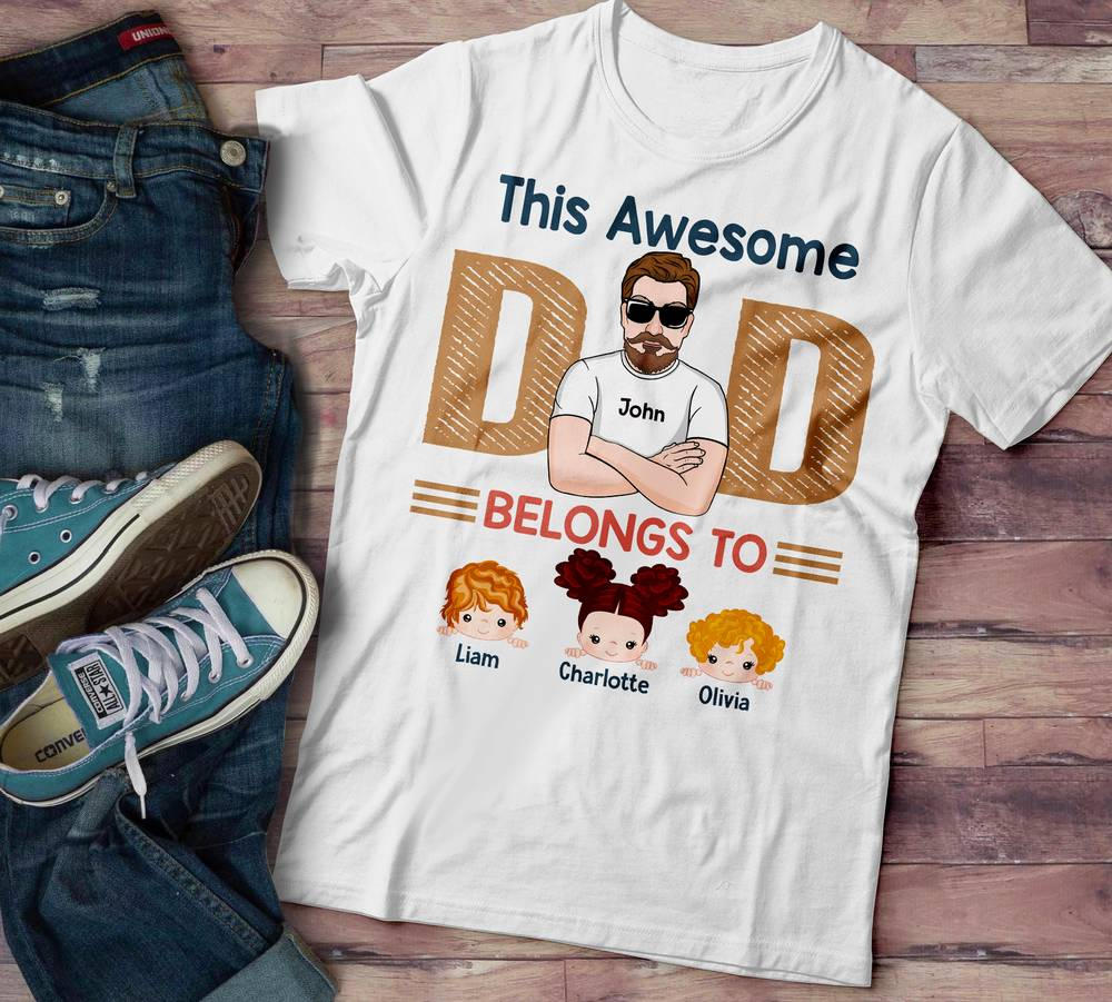 Personalized Family T-shirt: This Awesome Dad Belongs To - Ver 2_1