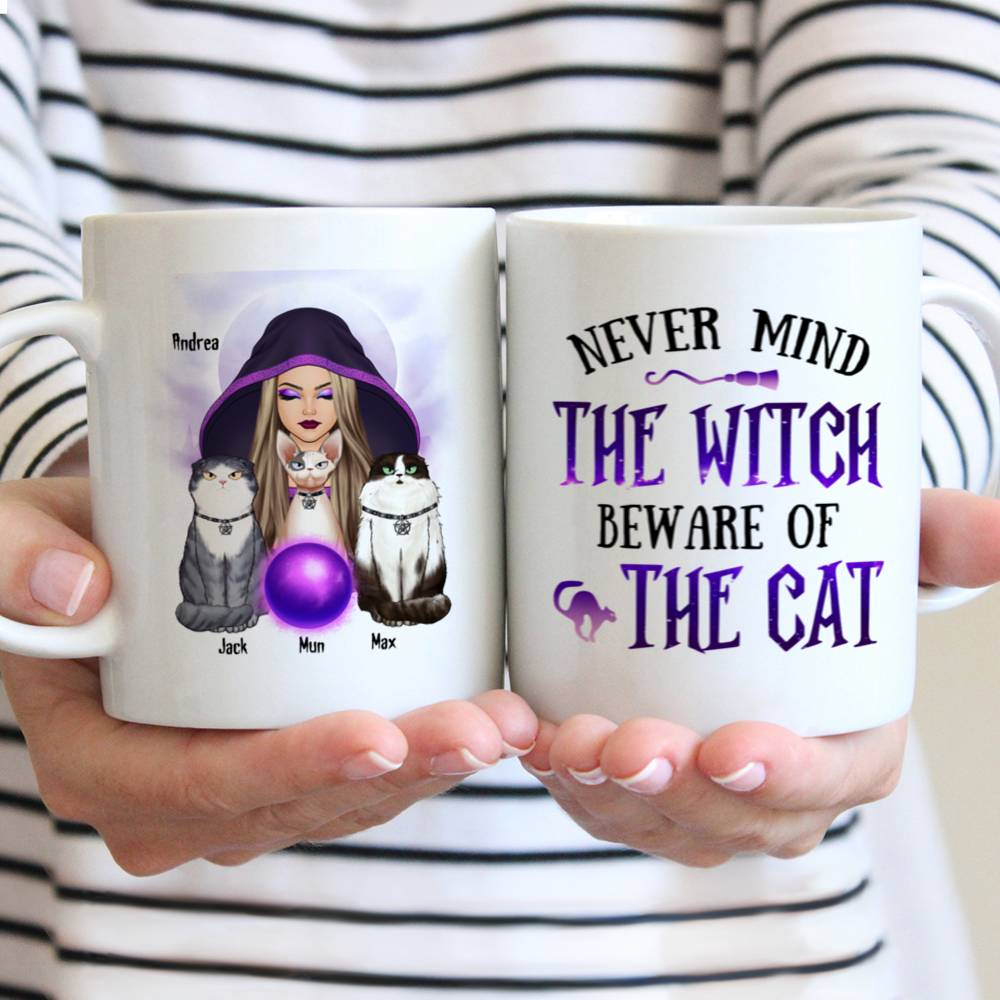 Personalized Mug - Halloween - Cat Witch - Never mind  the witch  beware of  the cat_3