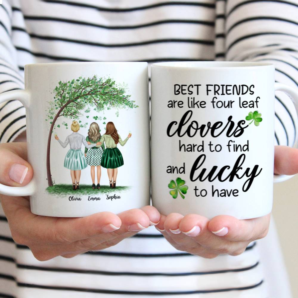 Personalized Mug - Best friends - Best friends are like four leaf clovers, hard to find and lucky - Up to 4 Friends