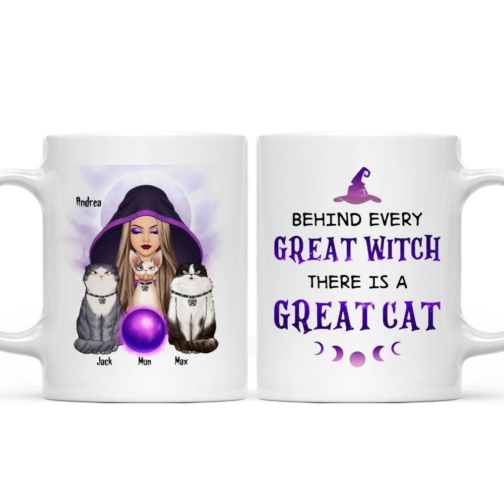 Personalized Mug - Halloween - Cat Witch - Behind every great witch there is a great cat_6