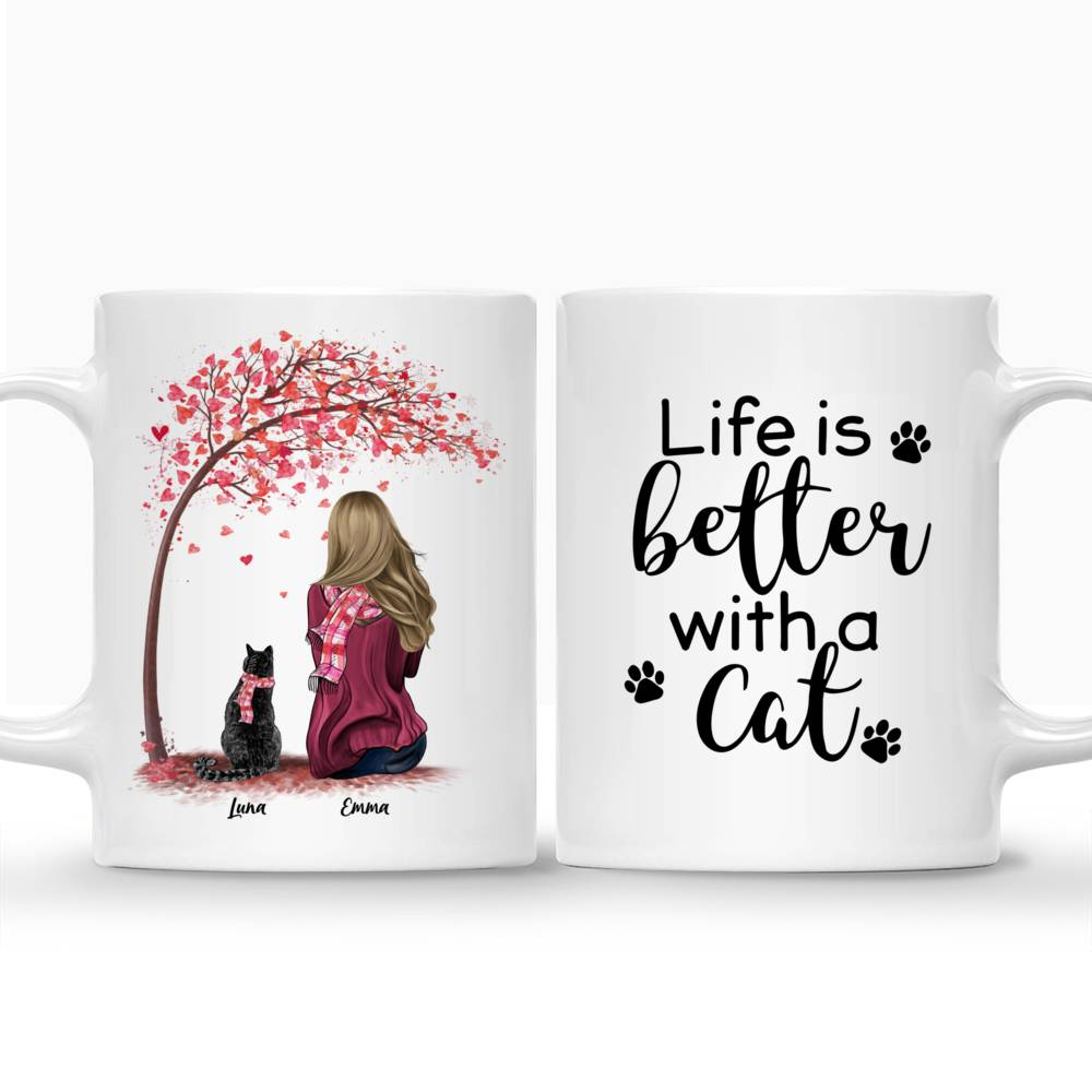 Personalized Mug - Girl and Cats Spring - Life Is Better With A Cat_3