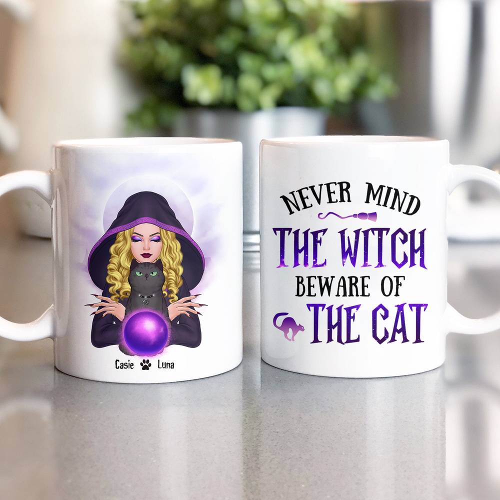 Personalized Mug - Halloween - Cat Witch - Never mind  the witch  beware of  the cat_1