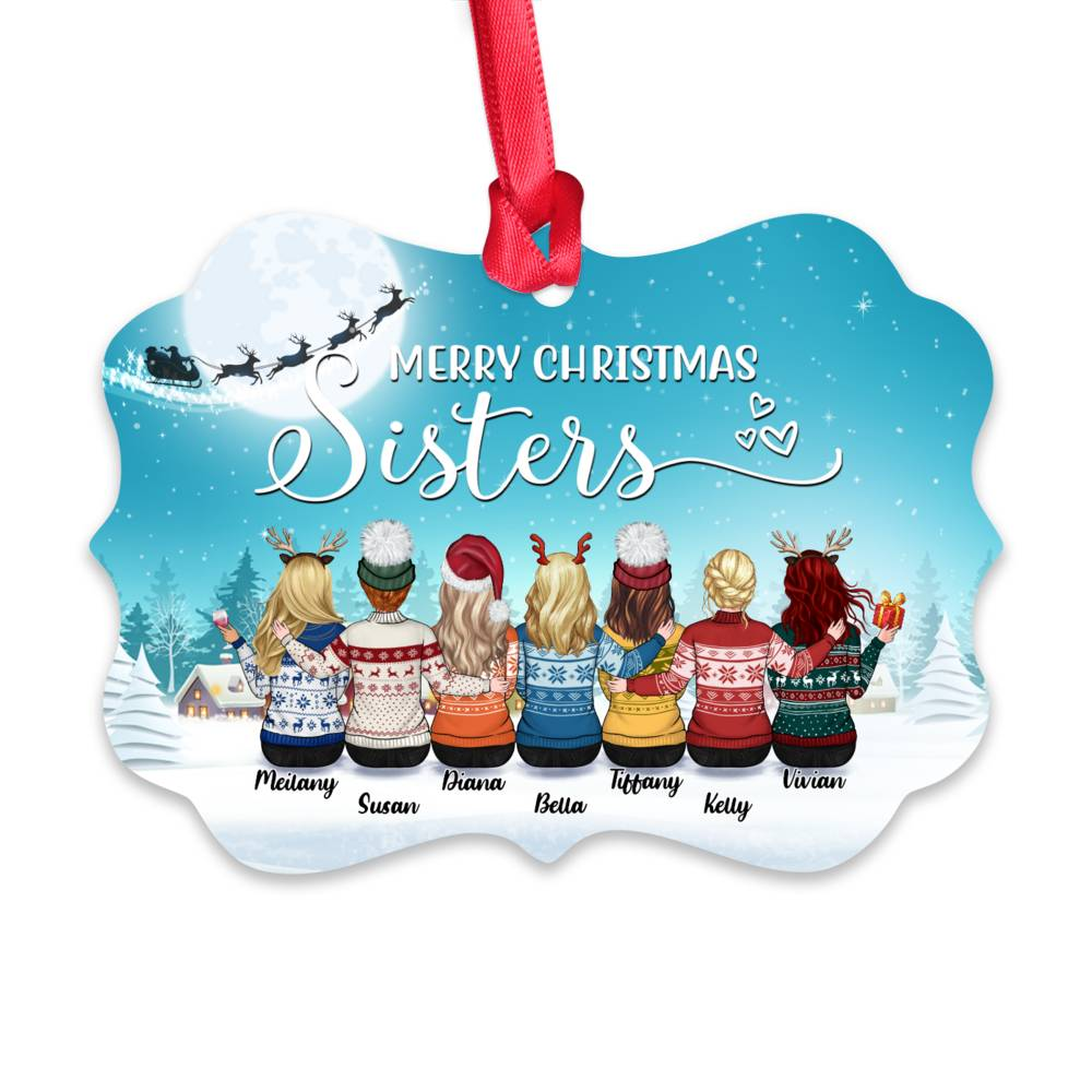 Personalized Ornament - Up to 9 Women - Ornament - Merry Christmas Sisters (Snow_M)_1