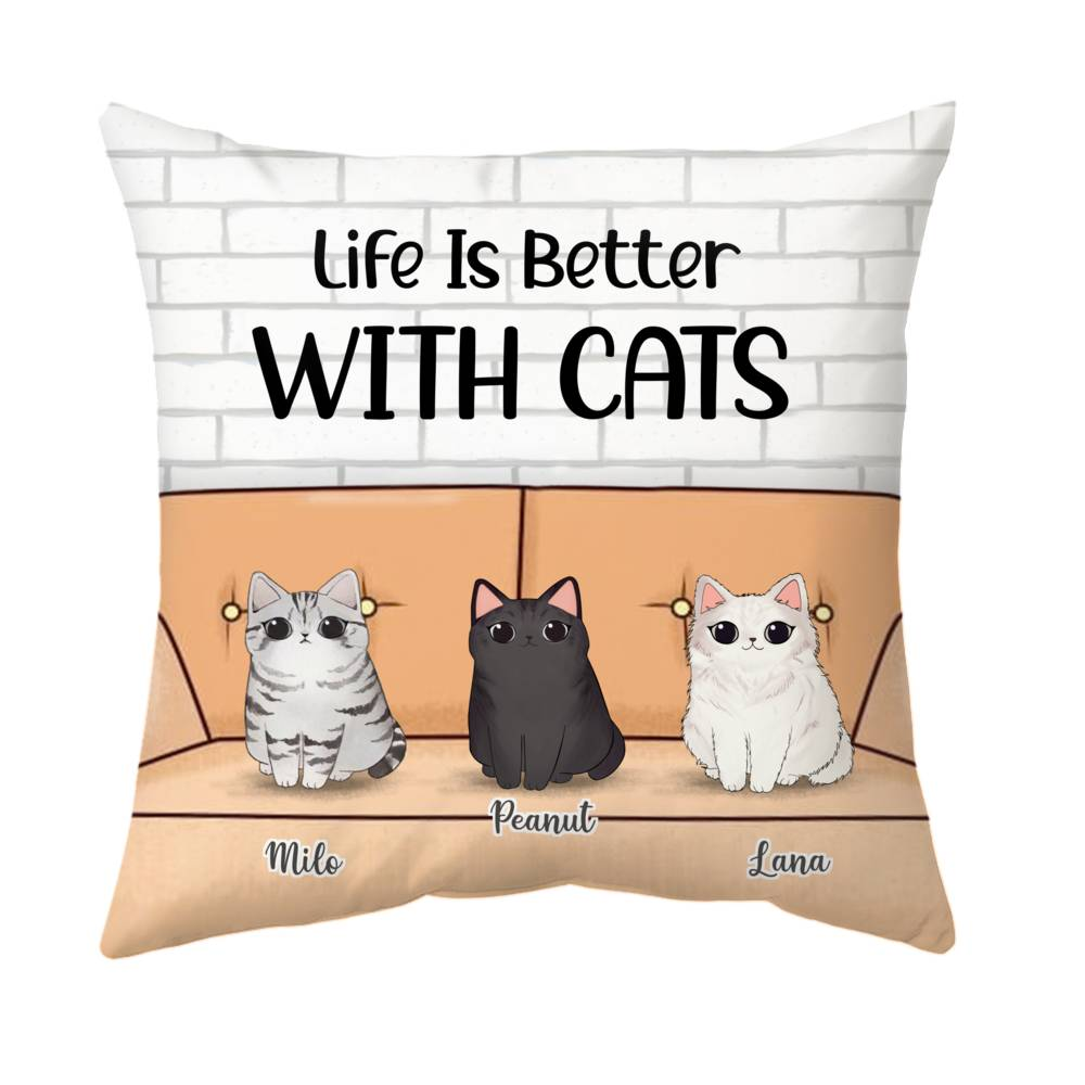 Personalized Pillow - Cute Cats - Life Is Better With Cats