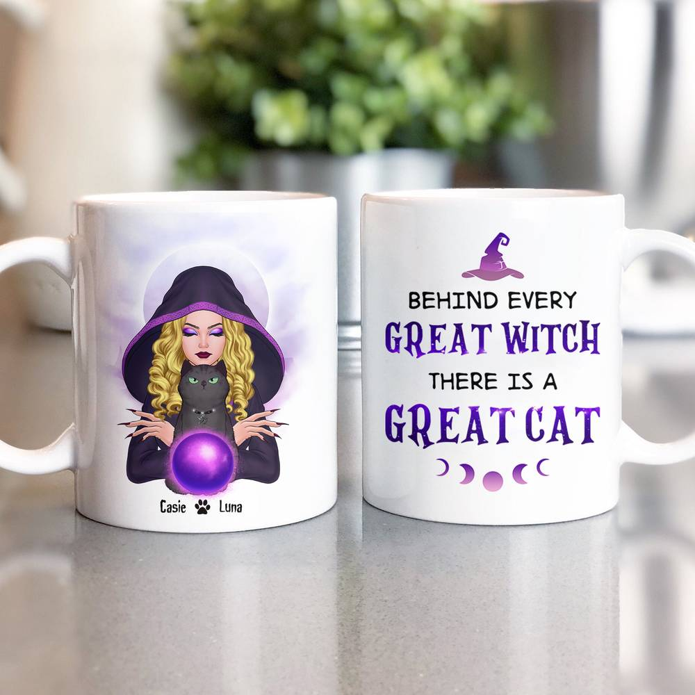 Personalized Mug - Halloween - Cat Witch - Behind every great witch there is a great cat_1