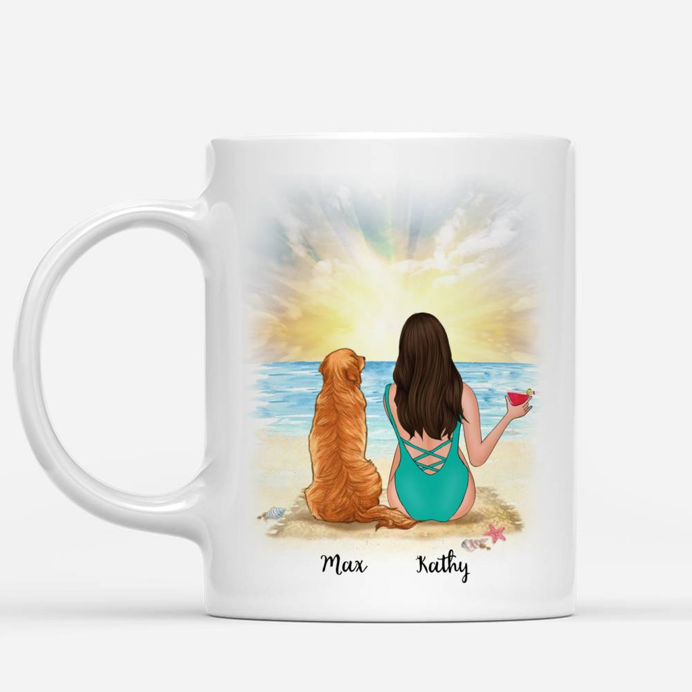 Personalized Mug - Beach Girl And Her Dog - Forever In My Heart_1