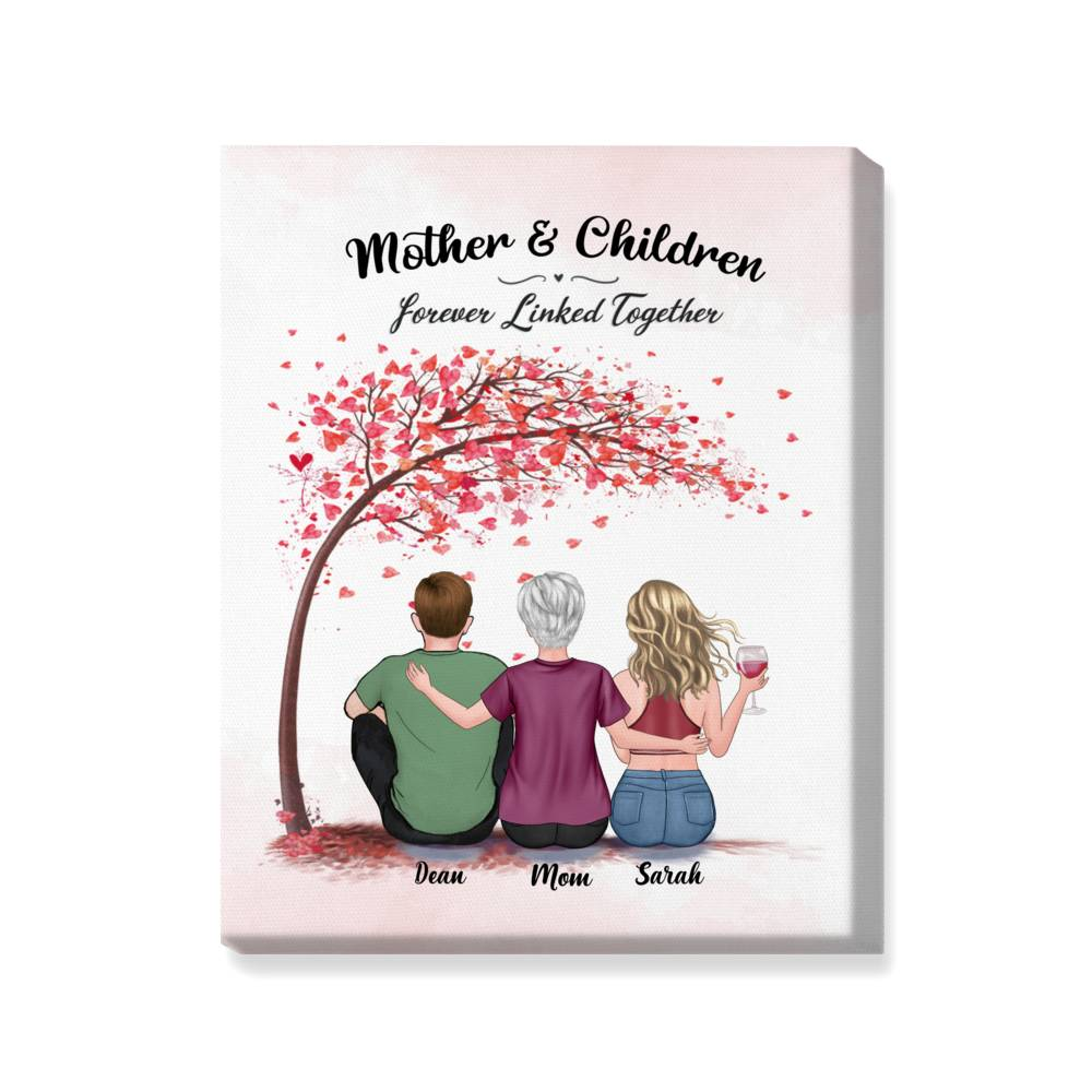 Personalized Wrapped Canvas - Mother & Children Forever Linked Together