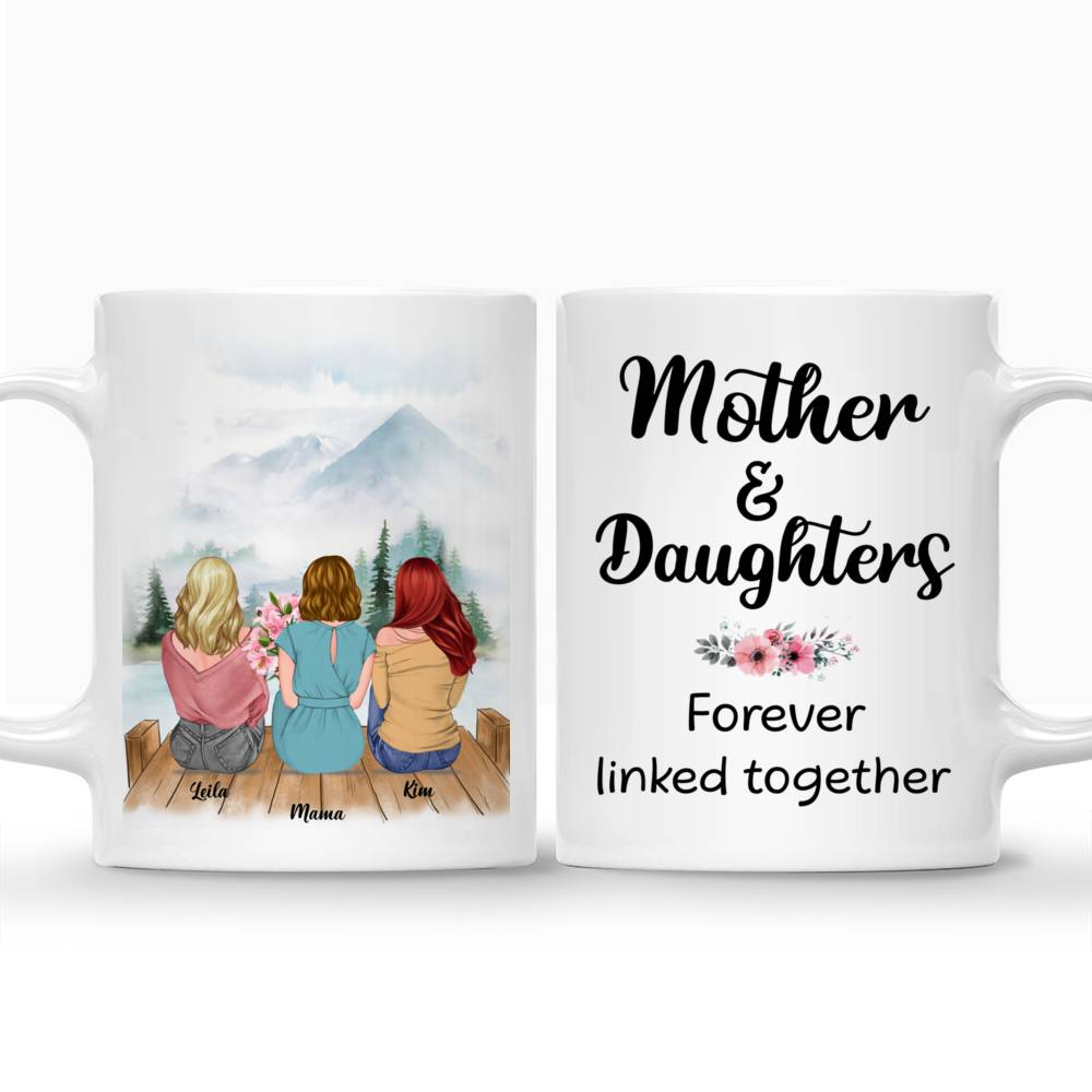 Personalized Mug - Mother & Daughter - Mother & Daughters Forever Linked Together - Romance_3