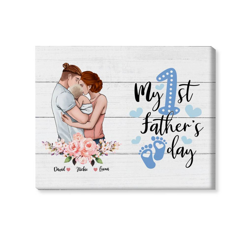 Personalized Wrapped Canvas - Family canvas - My first father day