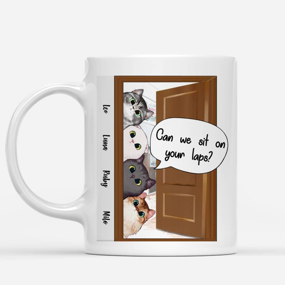 Personalized Mug - Peaking Cat - Can we sit on your laps?
