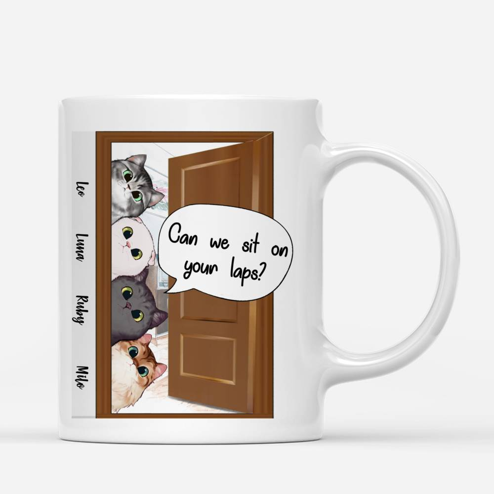 Personalized Mug - Peaking Cat - Can we sit on your laps?_1