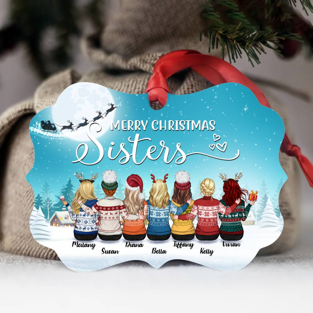 Personalized Ornament - Up to 9 Women - Ornament - Merry Christmas Sisters (Snow_M)