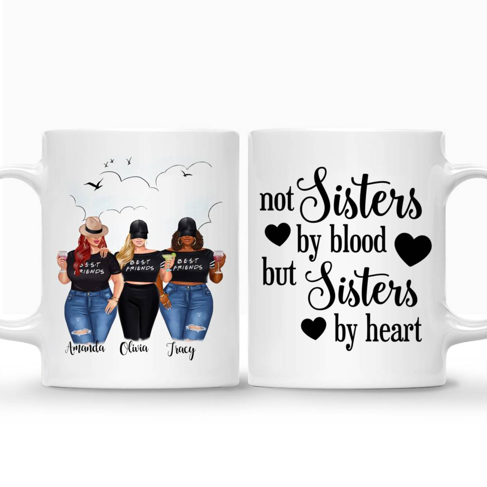 Personalized Mug - Sisters Mug - Personalized Mug - 2/3 Girls - Not Sisters By Blood But Sisters By Heart_3