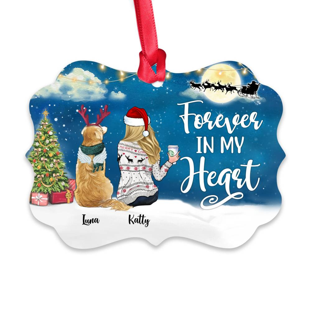 Personalized Ornament - Girl and Dogs - Forever in my heart (5935)_1