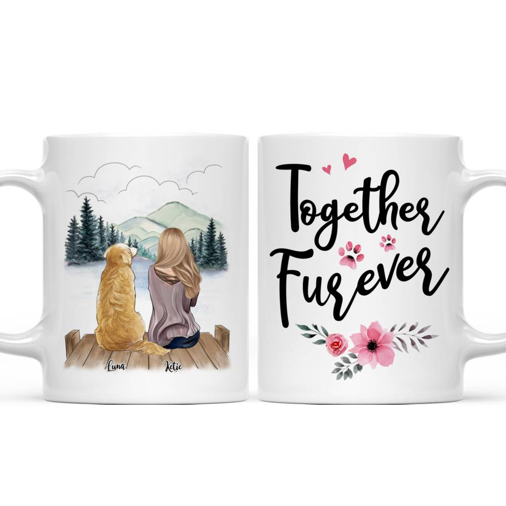 Personalized Mug - Girl and Dogs - Together Furever (575)_3