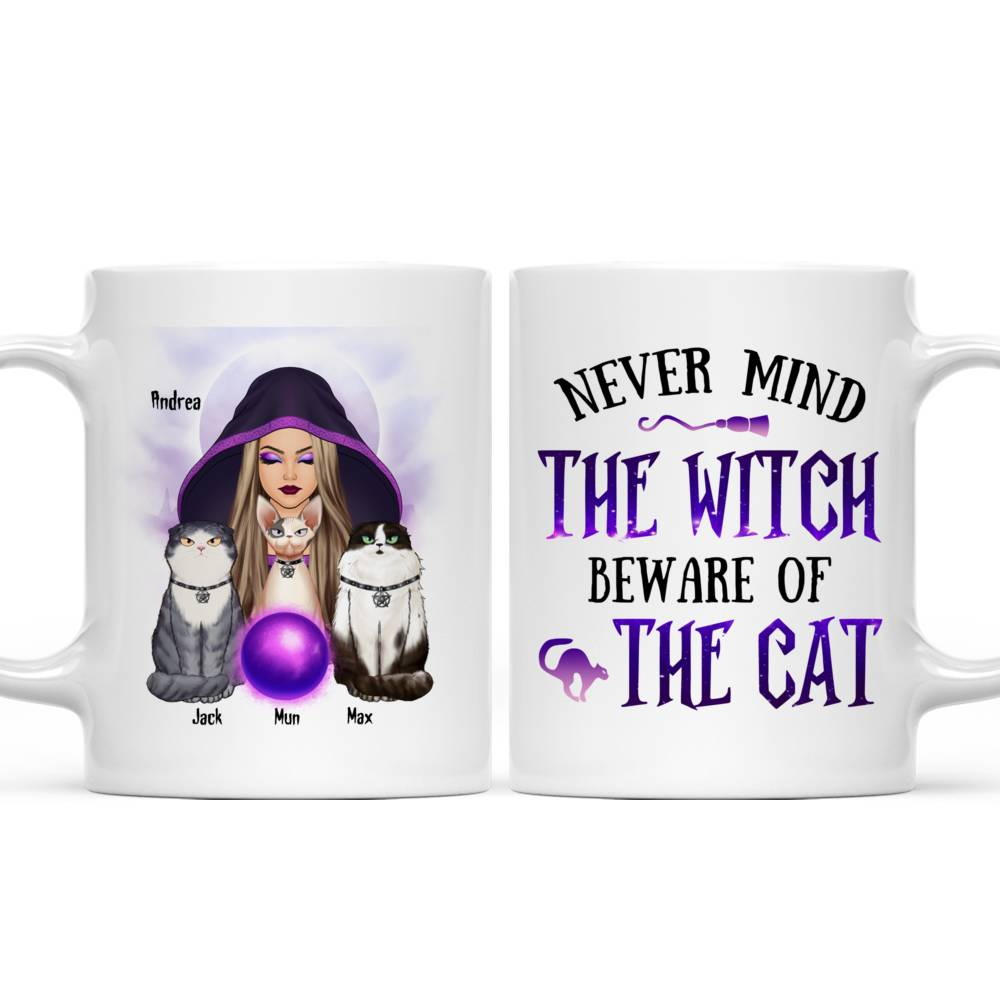 Personalized Mug - Halloween - Cat Witch - Never mind  the witch  beware of  the cat_6