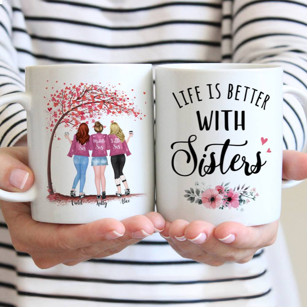 Personalized Mug - Up to 5 Sisters - Life is better with Sisters (Ver 1) - Love - Pink
