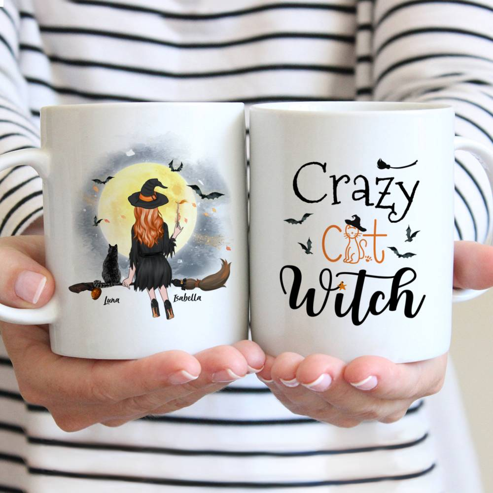 Personalized Witch and Cats - Crazy Cat Witch Custom Mug | Gossby