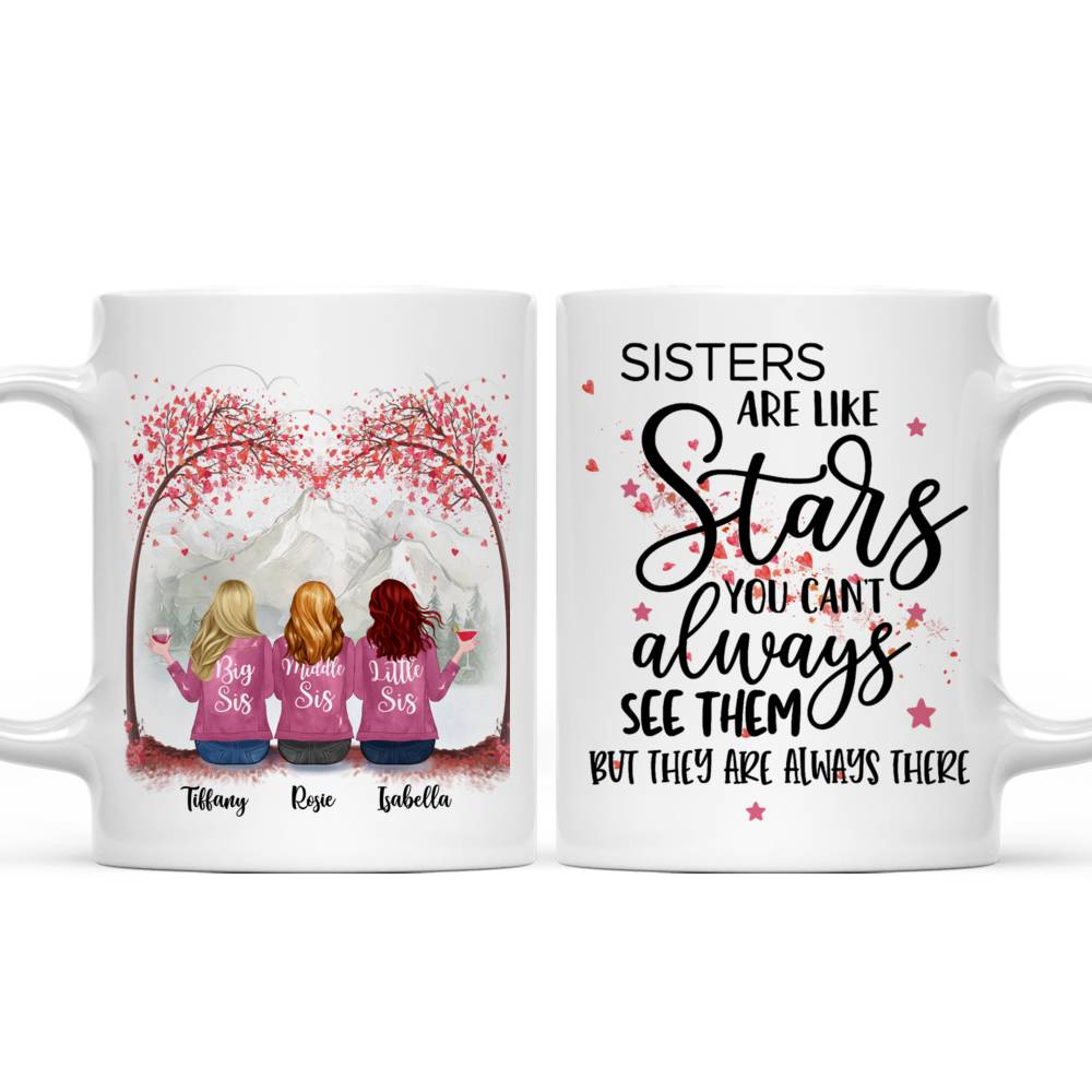 Personalized Mug - Up to 7 Sisters - Sisters are like stars, you can't always see them, but you know they're always there (T7416)_3